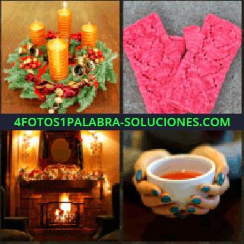 4 Fotos 1 Palabra - velas encendidas. Guantes de lana rosas. Chimenea encendida. Taza de te o caldo