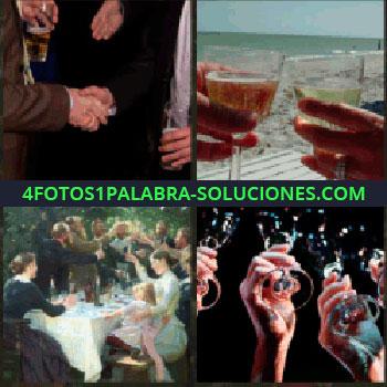 4 Fotos 1 Palabra - Dándose la mano. copas en la mano. Celebración o fiesta. Gente brindando con copas