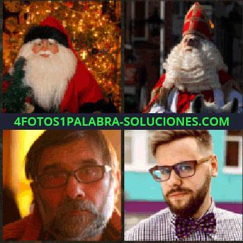 4 Fotos 1 Palabra - Muñeco de Papa Noel. Religioso con barba blanca y gorro alto rojo. señor con gafas. Joven con lentes y pajarita