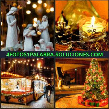 4 Fotos 1 Palabra - Figuras del belén. Vela y decoración. Puestos de la feria en invierno. Árbol de navidad. belén