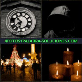4 Fotos 1 Palabra - reloj en edificio. Persona con gorra en la noche. Plaza ciudad iluminada con árbol navidad. Velas encendidas