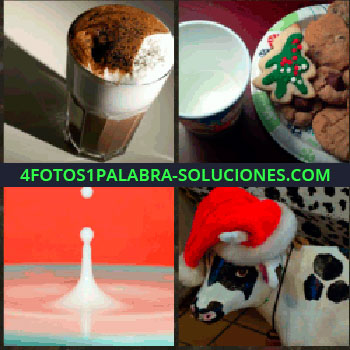 4 Fotos 1 Palabra - Galletas navideñas o cookies, vaca con sombrero de Papá Noel, gota de líquido blanco en fondo rojo, leche con chocolate