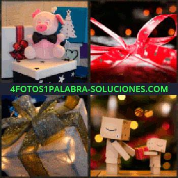 4 Fotos 1 Palabra - cerdito de peluche. Lazo rojo. Caja con lazo dorado de regalo. Dos muñecos de cartón