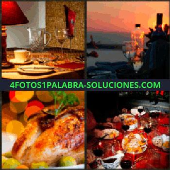 4 Fotos 1 Palabra - Mesa restaurante. Copas y atardecer. pollo asado. Mesa cena familiar