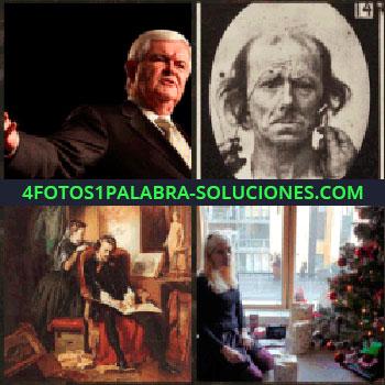 4 Fotos 1 Palabra - señor con traje. Cara en blanco y negro. Pintura antigua. Señorita de rodillas árbol de navidad