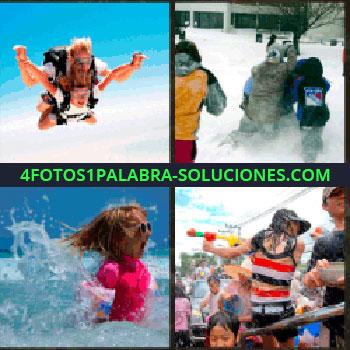 4 Fotos 1 Palabra - salto libre. Jugando en la nieve. Señorita jugando en el mar. Jugando con pistolas de agua
