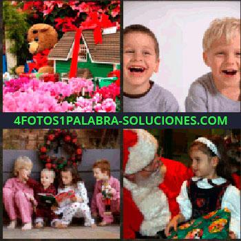 4 Fotos 1 Palabra - Juguetes y regalos. Niños contentos. Grupo de niños en pijama. Niña con Papa Noel o Santa Claus. juguetes