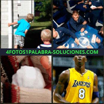 4 Fotos 1 Palabra - Niños jugando, hombres vestidos de azul jugando a las cartas, bola de nieve en manos con guantes, jugador baloncesto