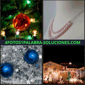 4 Fotos 1 Palabra - Bola adorno árbol navidad. collar de perlas. Adornos de navidad. Adornos e iluminación plaza ciudad