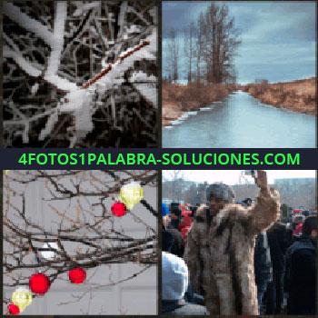 4 Fotos 1 Palabra - Paisaje con río y árboles sin hojas, luces rojas y amarillas en las ramas secas de un árbol, hombre con abrigo de pieles, ramas heladas