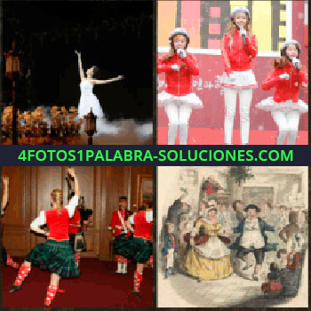 4 Fotos 1 Palabra - Bailarina de ballet clásico, baile regional, dibujo de gente bailando, niñas cantando