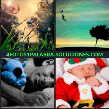 4 Fotos 1 Palabra - pompas de jabón en el césped. Arbol. Hombre durmiendo con muñeco azul. Bebe vestido de Papa Noel
