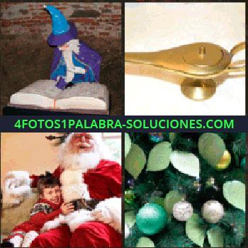 4 Fotos 1 Palabra - Libro y muñeco mago. lampara de Aladino. Santa Claus con niño. Adornos navideños