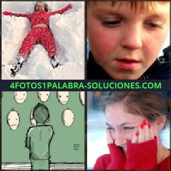 4 Fotos 1 Palabra - Señorita disfrutando de la nieve. niño llorando. Dibujo color verde. Señorita de rojo sonriendo