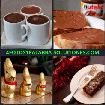 4 Fotos 1 Palabra - Tres tazas blancas. Nutella con pan. Figuritas doradas de conejos. Plato con tarta o postre