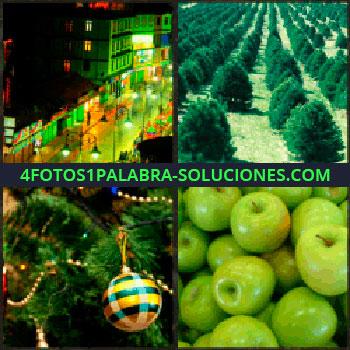 4 Fotos 1 Palabra - Calle iluminada. Plantación de arboles. Arbol y adornos navideños. manzanas verdes