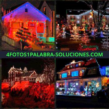 4 Fotos 1 Palabra - Luces de navidad. Casa iluminada. Pueblo iluminado. Caserón u Hotel con iluminación. iluminación