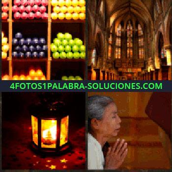 4 Fotos 1 Palabra - Tienda de velas. Iglesia. Lampara iluminada. Mujer rezando