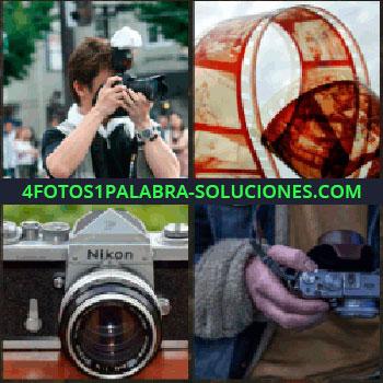 4 Fotos 1 Palabra - Negativos, cámara fotográfica Nikon, mano sujetando cámara de fotos, fotógrafo