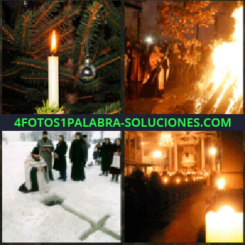 4 Fotos 1 Palabra - vela iluminada. Hoguera grande. Ceremonia religiosa en la nieve. Capilla iluminada