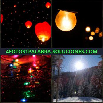 4 Fotos 1 Palabra - lamparas de papel voladoras. Bombillas. Luces de colores. Amanecer en el bosque