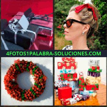 4 Fotos 1 Palabra - regalos sobre una mesa. Mujer lazo rojo en la cabeza. Corona de flores. Montaña de regalos. para que sigas jugando