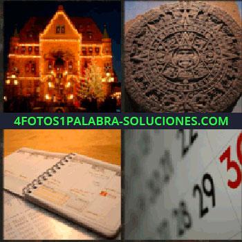 4 Fotos 1 Palabra - casa iluminada. Objeto Maya. Libreta. Almanaque