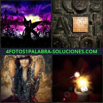 4 Fotos 1 Palabra - Imagen sombras con fondo morado. letras y símbolos. Imagen señorita. Imagen oscura con luz