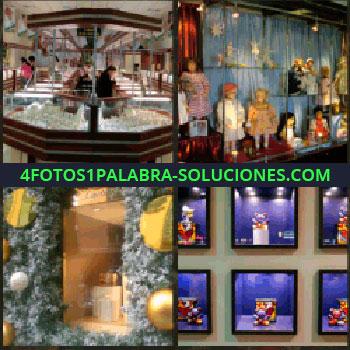 4 Fotos 1 Palabra - Centro comercial. tienda muñecas. Ventas. Escaparate muñecos