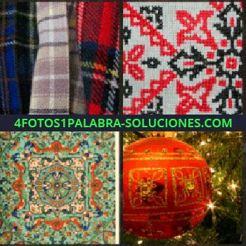 4 Fotos 1 Palabra - bufandas. Dibujo en tela. Alfombra. Bola de navidad
