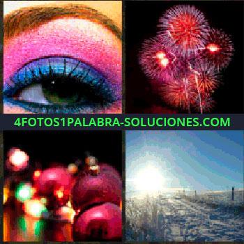 4 Fotos 1 Palabra - ojo maquillado. Fuegos artificiales. Bolas navidad y luces. Amanecer en la nieve