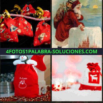 4 Fotos 1 Palabra - Bolsitas rojas de regalo colgadas. Papa Noel. Regalos junto a chimenea. Bolsas de regalo