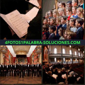 4 Fotos 1 Palabra - partituras. Coral de niños. Coro de hombres. Orquesta filarmónica