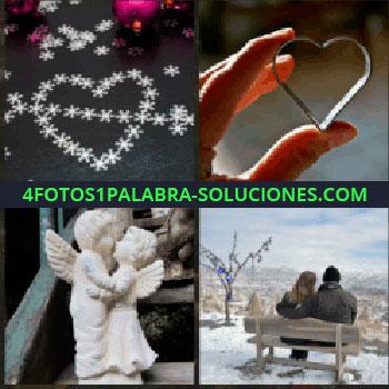 4 Fotos 1 Palabra - corazón de estrellas. Corazón entre los dedos. Figuritas de angeles abrazados. Pareja sentada en un banco en la nieve