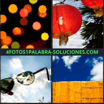 4 Fotos 1 Palabra - Luces de colores. Lamparas chinas. Gafas de sol. lentes de sol. Cielo azul con nubes