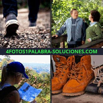 4 Fotos 1 Palabra - Caminando por un camino de piedras, hombre y mujer en un puente de madera, mujer con gorra mirando un mapa, botas mapa