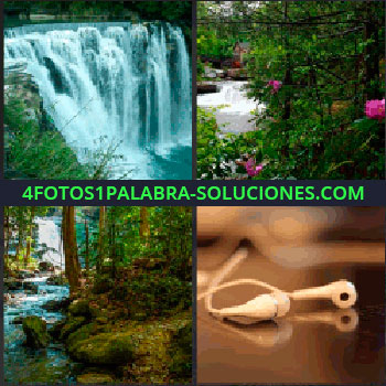 4 Fotos 1 Palabra - Río, bosque, paisaje con riachuelo, cascada auriculares para que puedas seguir jugando