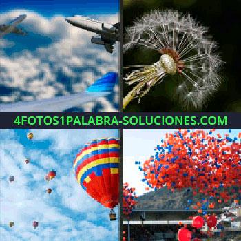 4 Fotos 1 Palabra - Globos aerostáticos, globos rojos y azules, diente de león, globos aviones