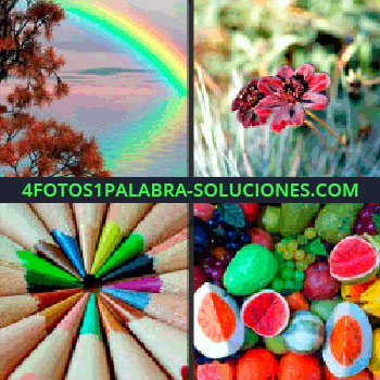 4 Fotos 1 Palabra - Arco iris sobre el agua, flor roja, frutas de colores, arco iris lápices -