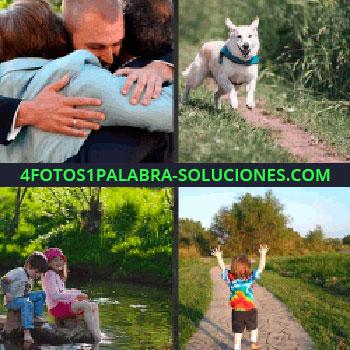 4 Fotos 1 Palabra - Perro blanco corriendo, niños sentados en el parque, niño pelirrojo con brazos levantados, perro abrazo niños