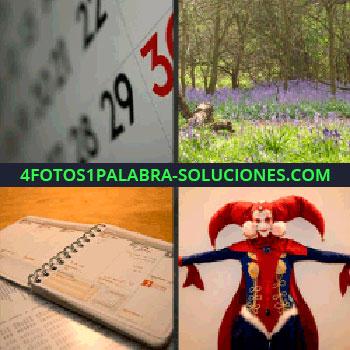 4 Fotos 1 Palabra - Paisaje con árboles y flores lilas, libreta, agenda, arlequín, calendario disfraz