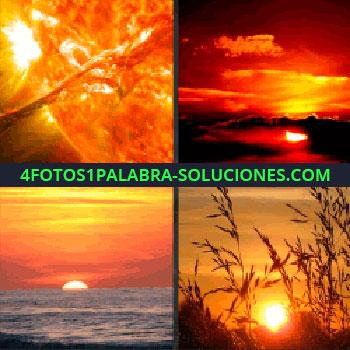 4 Fotos 1 Palabra - Cielo anaranjado, cielo rojo, sol sobre el mar, puesta de sol, atardeceres