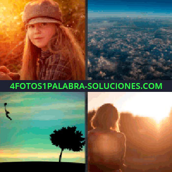 4 Fotos 1 Palabra - Foto aérea, cielo con nubes, niña volando con un globo, árbol, niña con gorro
