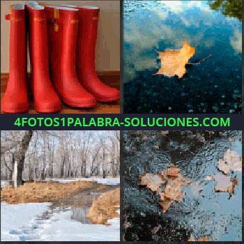 4 Fotos 1 Palabra - Hoja en el agua, paisaje nevado, nieve, charco, botas rojas