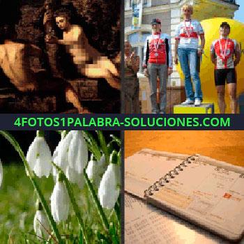 4 Fotos 1 Palabra - Flores blancas, deportistas en el podio, libreta, cuadro religioso, flores blancas