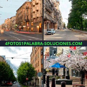 4 Fotos 1 Palabra - Ciudad sin gente, calle vacía, edificios, árboles, árboles con flores rosas, ciudad sin gente