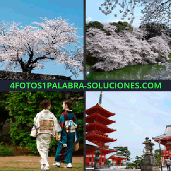 4 Fotos 1 Palabra - Torre roja, árboles con flores blancas, mujeres con kimono, paisaje japonés