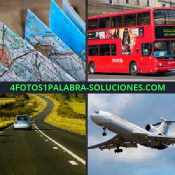 4 Fotos 1 Palabra - Avión, mapas, carretera, coche por la carretera, carro, mapa autobús - que estabas buscando