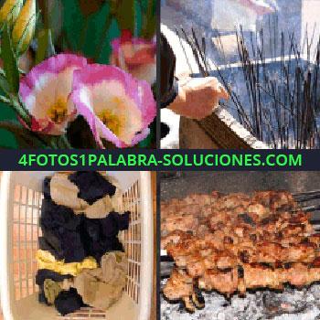 4 Fotos 1 Palabra - Flores de color rosa y blanco, brochetas, carne a la brasa, pinchos, palos con humo, incienso ropa sucia