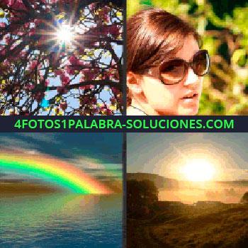 4 Fotos 1 Palabra - Mujer con gafas de sol, lentes, rayos de luz a través de las hojas de un árbol con flores, arco iris sobre el mar
